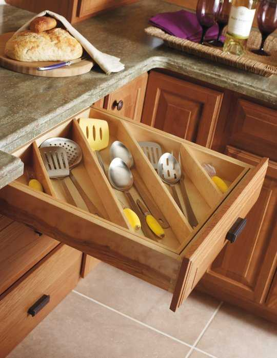 Diagonal Drawer Storage, 25 Kitchen Organization Ideas