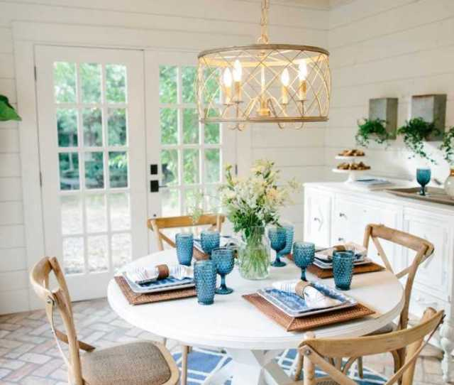 Fixer Upper Breakfast Nook With Blue And White Touches Get The Full Details On How
