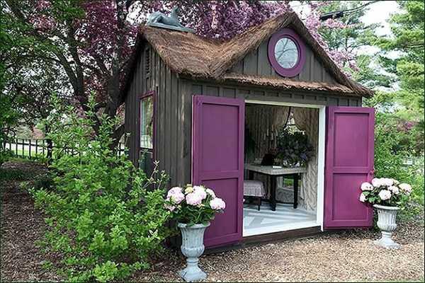 Purple She Shed via Pinterest, The Best She Sheds