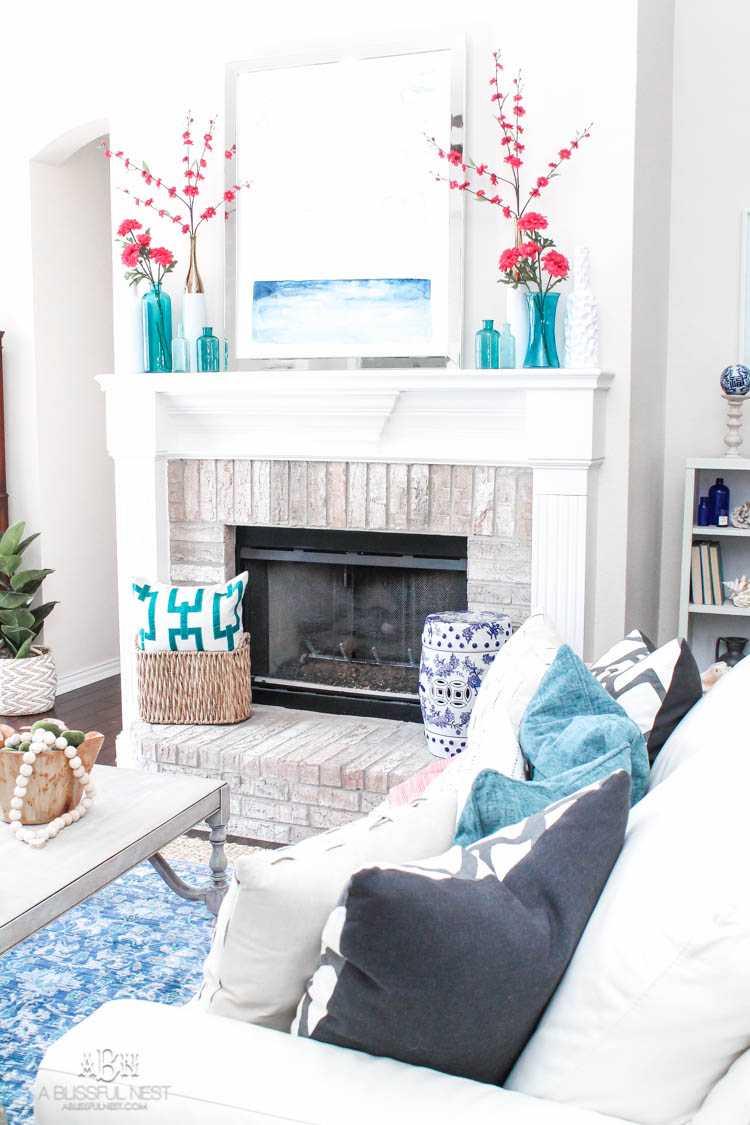gorgeous spring living room refresh full of blues
