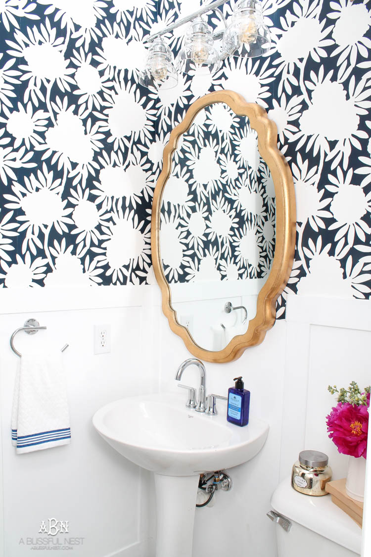 This is such a huge transformation on this bathroom with not many updates. Checkout how with a few simple changes you can get a wow factor bathroom remodel. See more on https://ablissfulnest.com/ #bathroomremodel #bathroommakeover #ad #deltafaucet