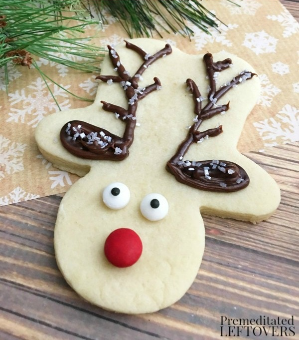 Rudolph Sugar Cookies, 30 Delicious Christmas Cookie Recipes via A Blissful Nest