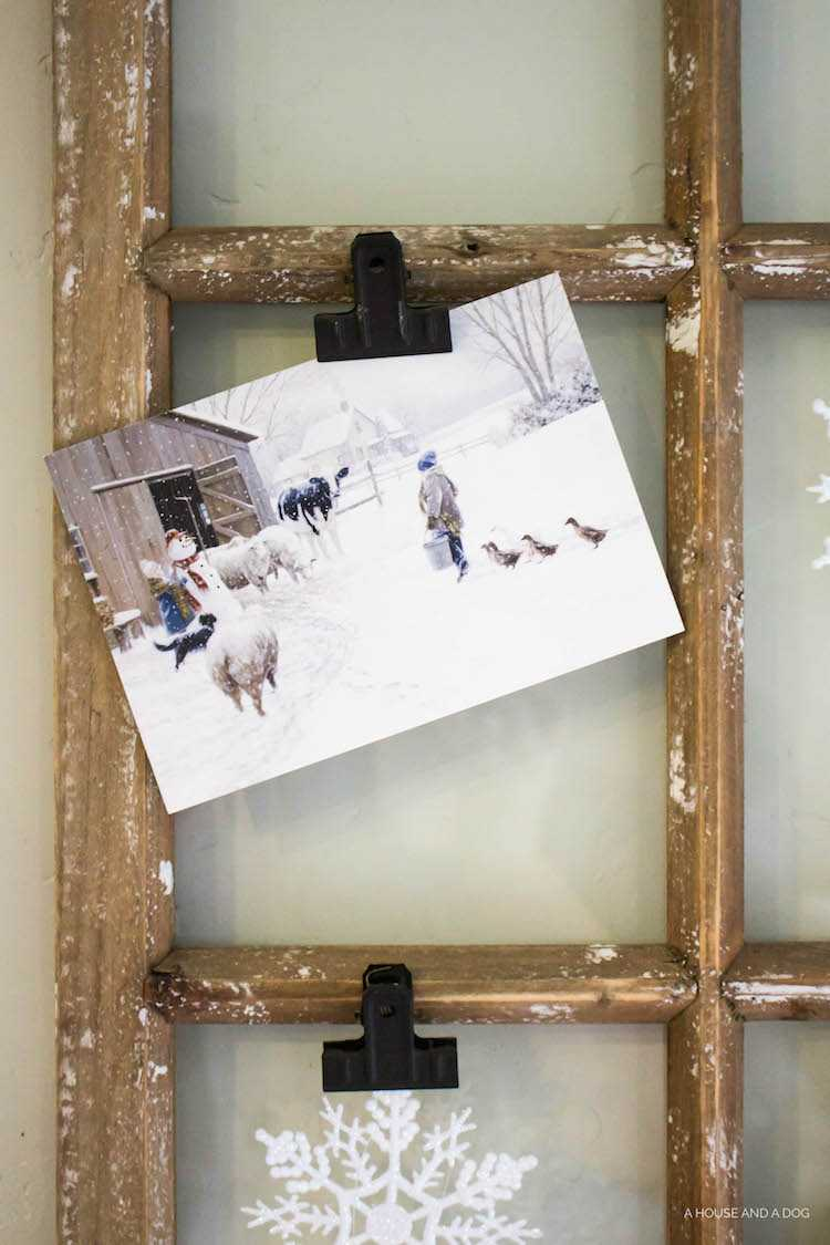 Vintage Window Christmas Card Display Idea By A House And