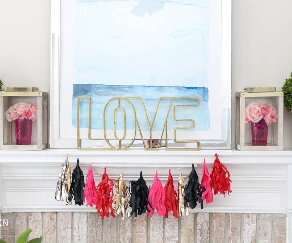 Our Valentine's Day Mantle Decor