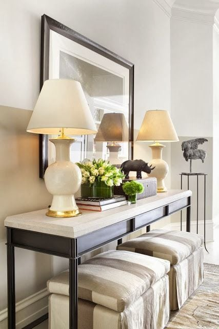 easy ways to style a console table by adding height seating and accessories