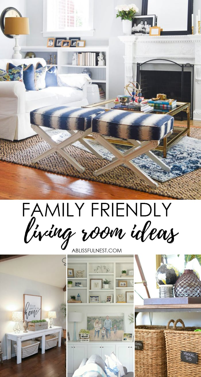 Create a family friendly living room that is still stylish yet kid friendly, head over to https://ablissfulnest.com/ for all the tips! #interiors #livingrooms #kidspaces