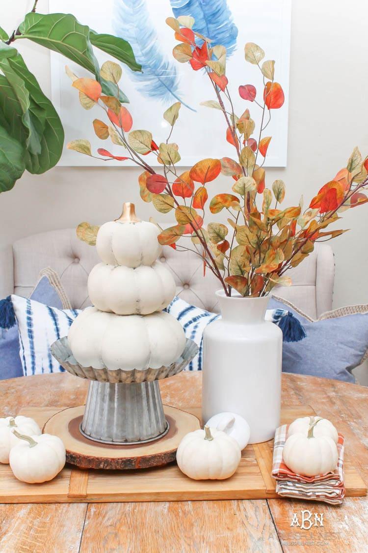 Full of rich jewel tones for fall, come visit my fall home tour! See more on https://ablissfulnest.com/ #falldecor #falldecorideas #falli