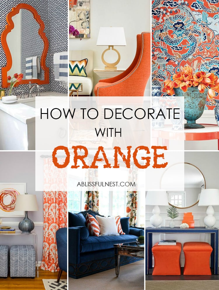 Go bold and grab these tips on how to decorate with orange in your home! #paintcolors #falldecorideas