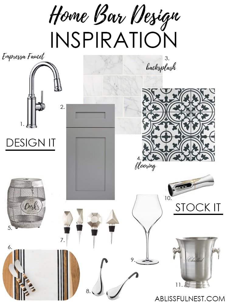 Create a gorgeous home bar design with the design elements of the Blanco Empressa faucet. #ad #blanco
