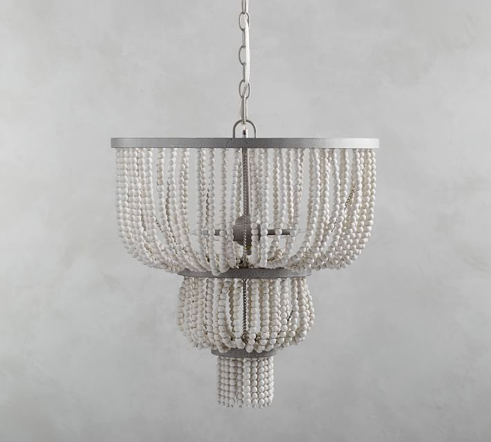 This is the most gorgeous wood bead chandelier!