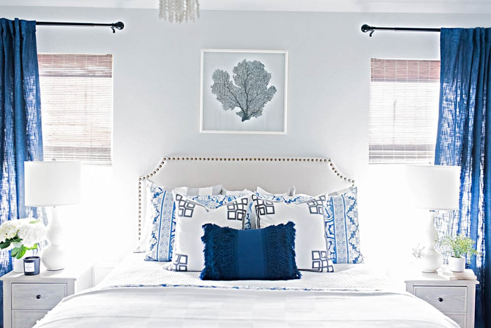 Blue and White Coastal Guest Bedroom Reveal - A Blissful Nest