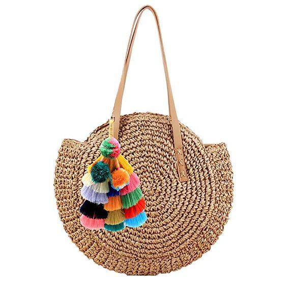 Summer Straw Handbag with Tassels