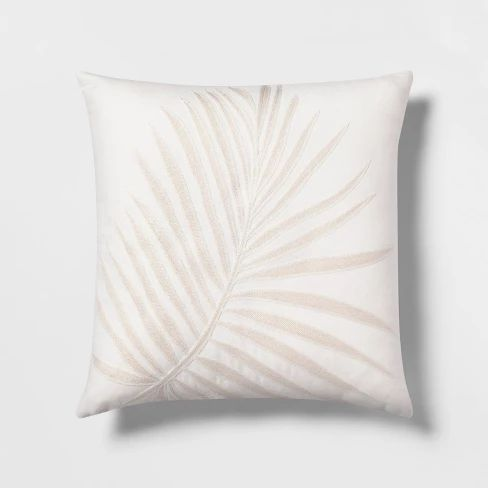 Embroidered Palm With Linen Reverse Square Throw Pillow White