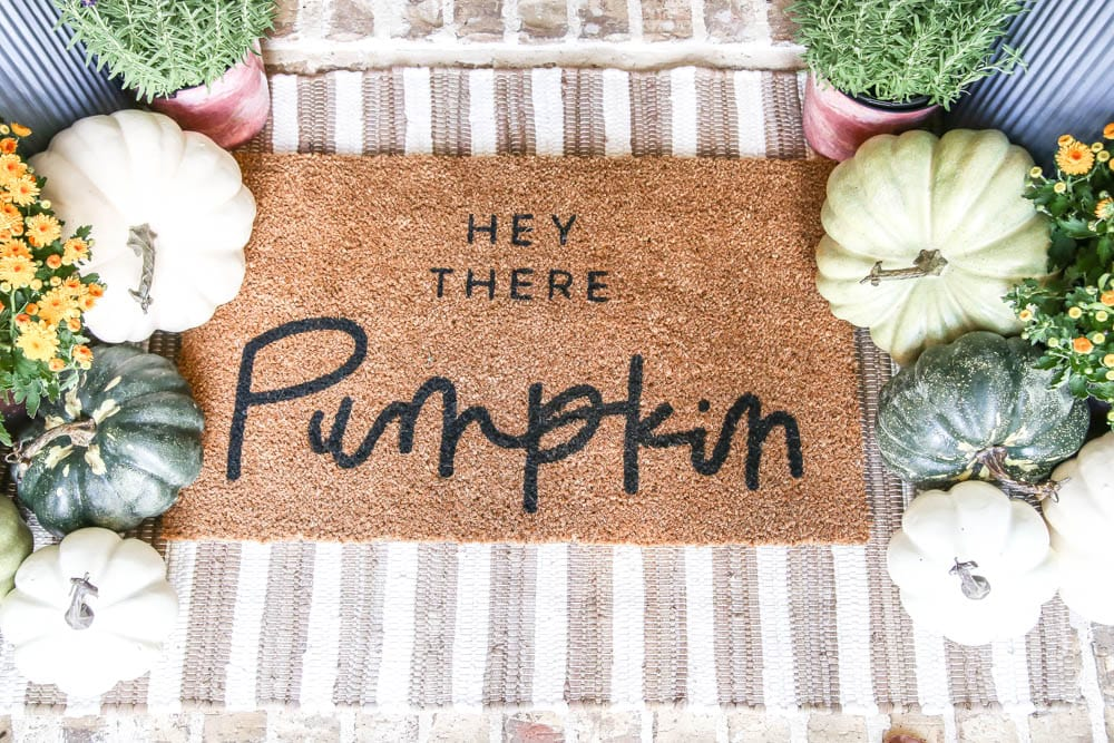 Hey There Pumpkin door mat, pumpkins, mums, lavendar plant, striped area rug. fall inspiration, fall decor. #ABlissfulNest #fallinspiration #falldecor
