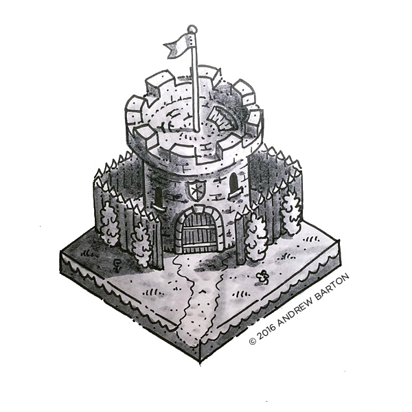 isometric castle house