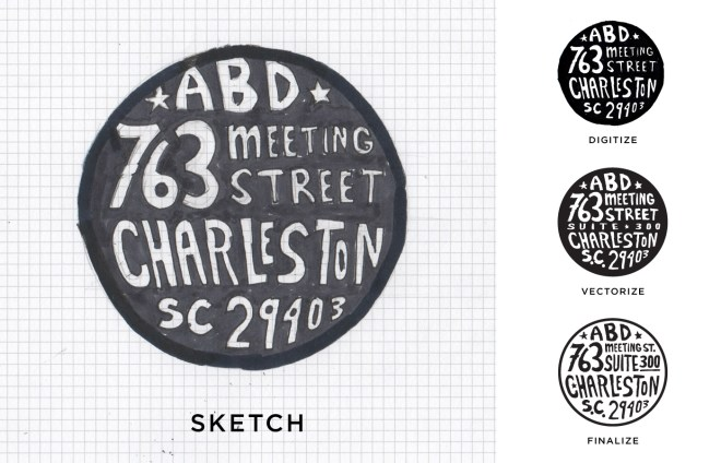 sketch of hand drawn stamp