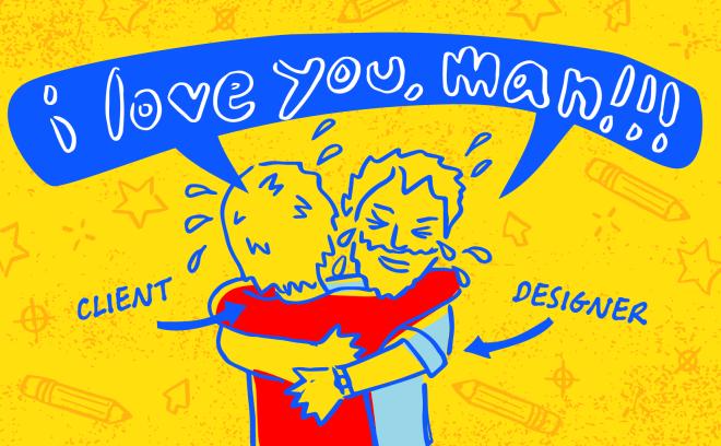 designer and client hugging