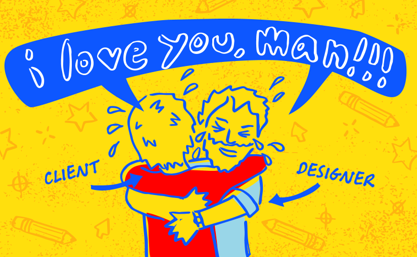 designer and client hugging