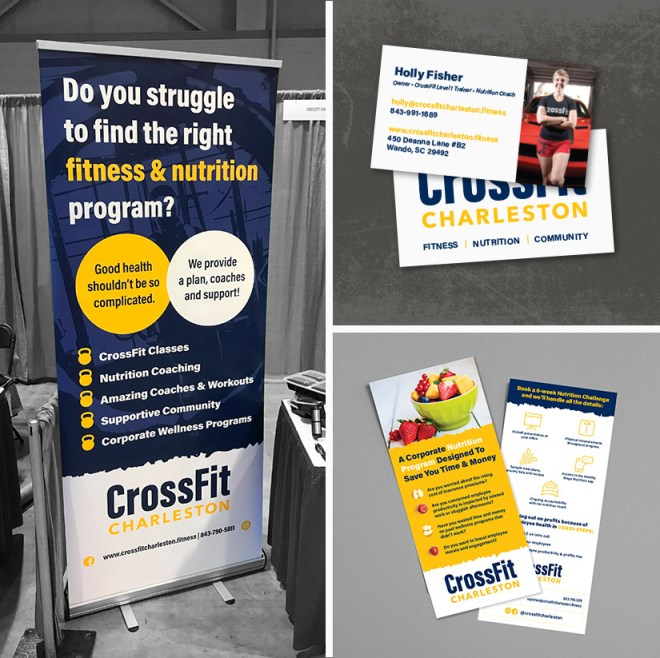 collage of promotional assets including pop up banner, business cards, and flyer