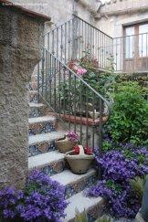 Bloomy courtyard in Erice, Sicily