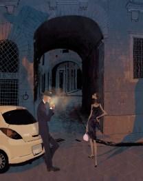 Spending the evening in Erice. Illustration by Tadahiro Uesugi.