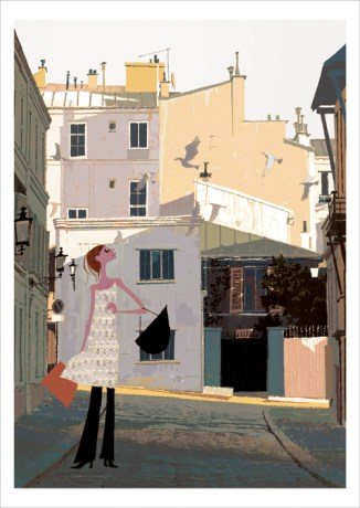 Like houses in Castelbuono, a sicilian place where it snows (do you see the cimneys?). Illustration by Tadahiro Uesugi