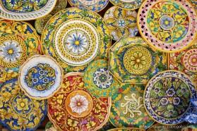 Colorful majolicas in Erice, Sicily