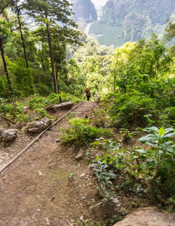 And coming back up the path/down from the air.