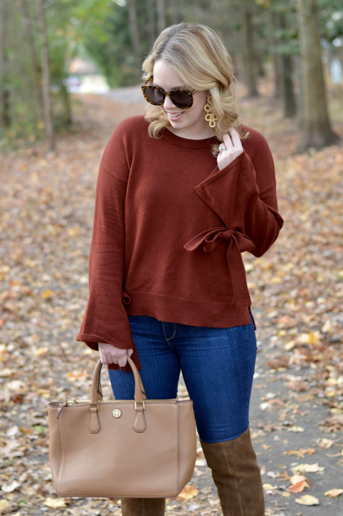 Rust Tie Cuff Sweater A Blondes Moment