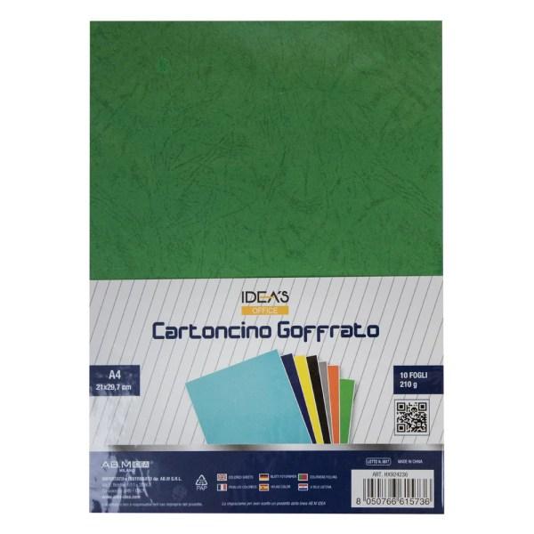 HX924236 CARTONCINO GOFFRATO VERDE A4 210GR/MQ 10PZ