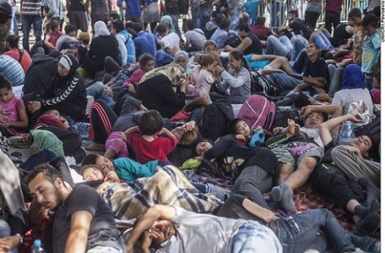 Refugee rest at the Tovarnik train station in Croatia