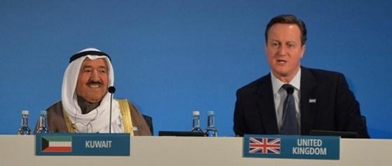 Amir Sheikh Sabah Al-Ahmad Al-Jaber Al-Sabah and David Cameron in Supporting Syria & the Region, London 2016