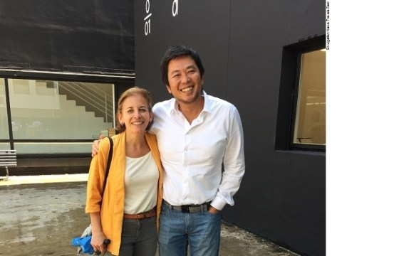 Jordana Pomeroy (director of The Patricia & Phillip Frost Art Museum FIU) with Akio Aoki, (Director, Galeria Vermelho in Sao Paulo)