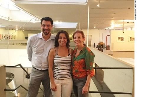 Klaudio Rodriguez (Curator of The Patricia & Phillip Frost Art Museum FIU) and Dr. Jordana Pomeroy (Director of the Patricia & Phillip Frost Art Museum FIU) with Lucia Meneghini of the Museu de Arte Moderna, Rio de Janeiro