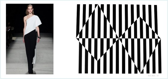 1.) Narciso Rodriguez/Fall 2015 Collection. 2.) Artwork by Carmen Herrera, Black and White, 2009