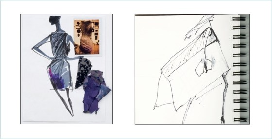 Sketches by Narciso Rodriguez and Artwork by Lygia Clark, Bicho (Triangle)