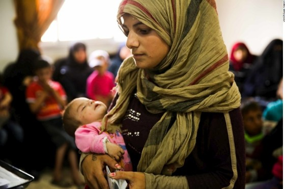 Samira fled fighting in eastern Aleppo with her husband and newborn son.