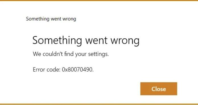 Error Code 0x80070490 1