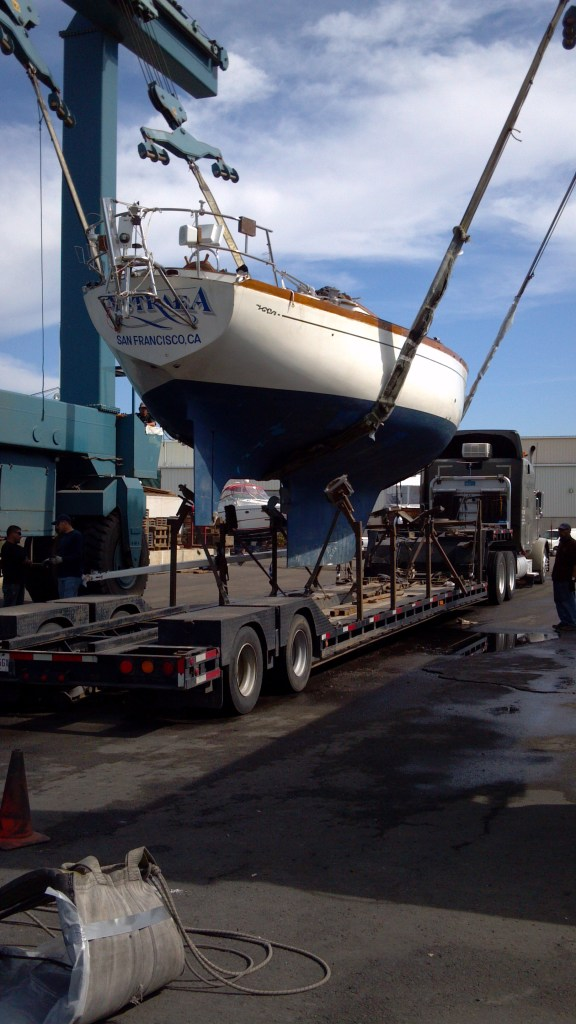Astraea being offloaded from the truck on her way to the yard