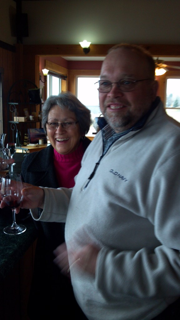 Mom and Dad Tasting wine