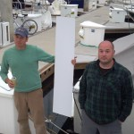 Jeff and I with a piece of formica that needs a hole cut in it for a portlight