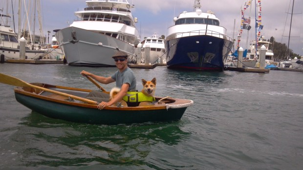 Eric and Koku out for a dinghy ride