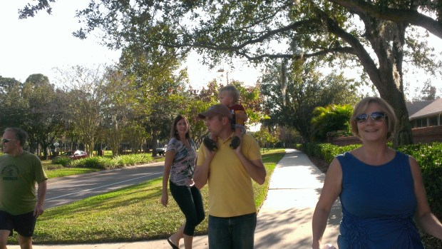 Soon the whole family met up at Great Grandma Klement's house and we took a walk through the neighborhood