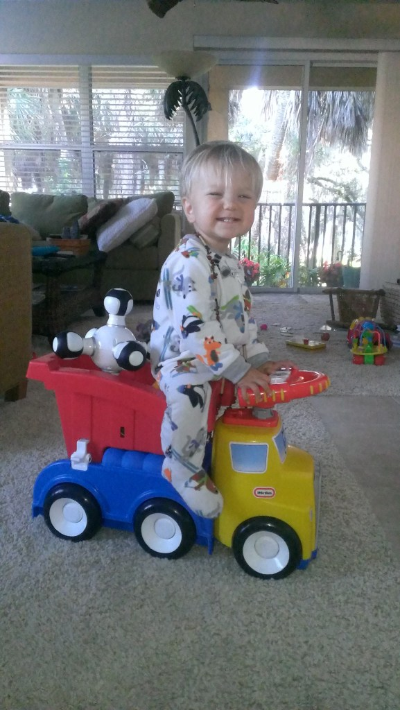 Sully played with his dumptruck