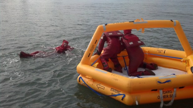 And entered a liferaft as a team