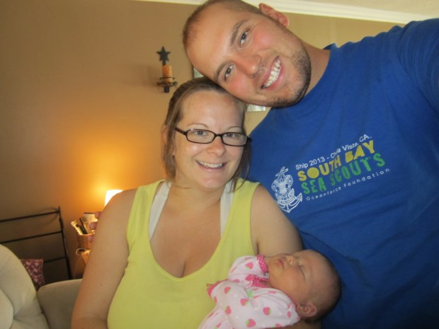 Visiting my cousin Amy and her baby girl Abby
