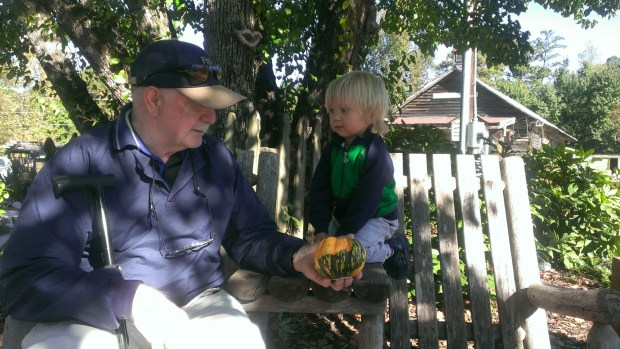 Sully picked out a pumpkin with Grampa Ferring