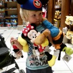 He was walking around with all the stuffed characters, but ended up with Mickey and Minnie