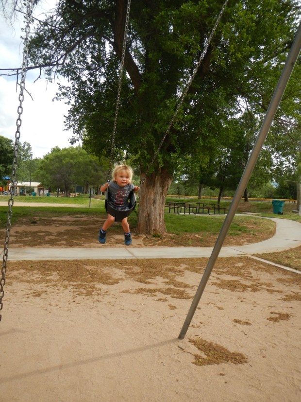 Sully had fun at the Cottonwood Community Park swinging high for the first time.