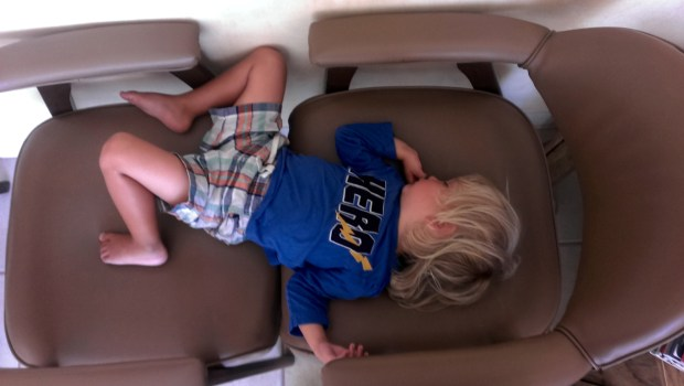 It's tough being almost 3 and traveling. We're glad this kid can sleep almost anywhere, including the dentist's office.